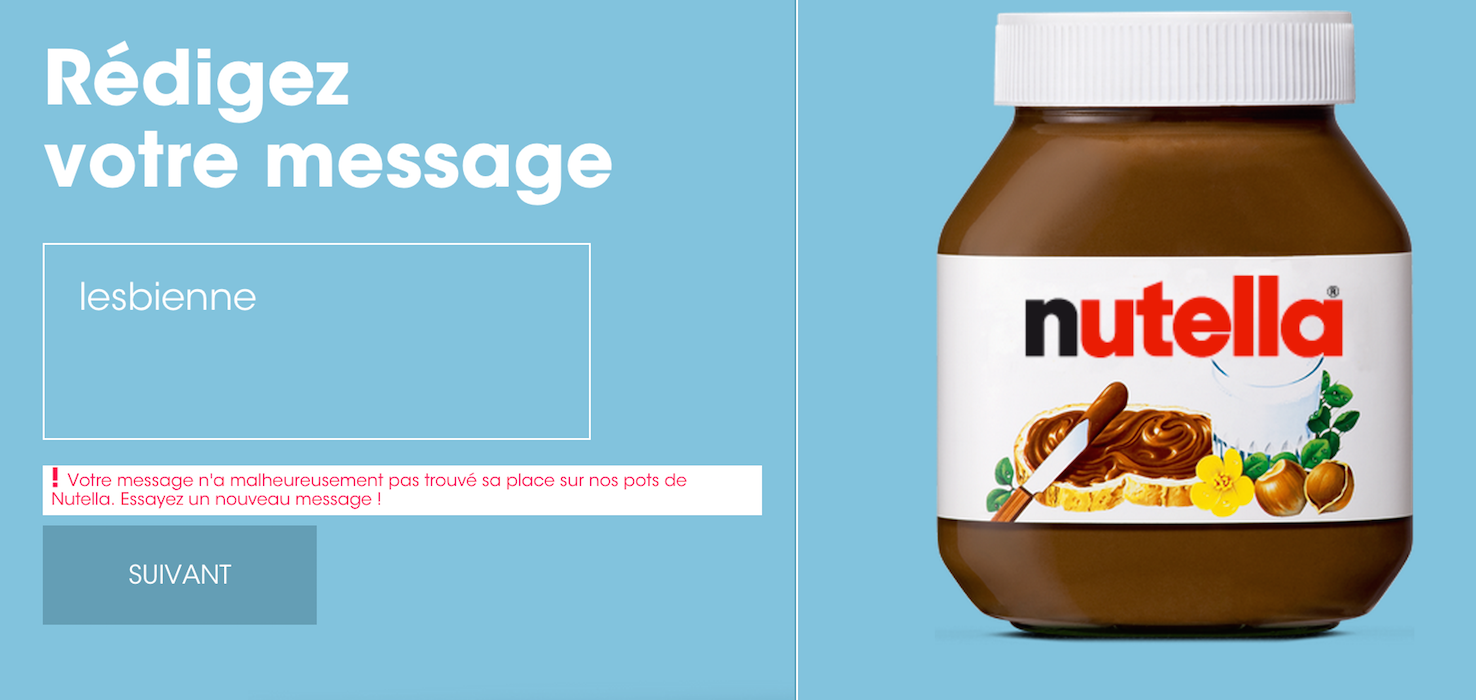 Nutella does not allow you to enter certain words