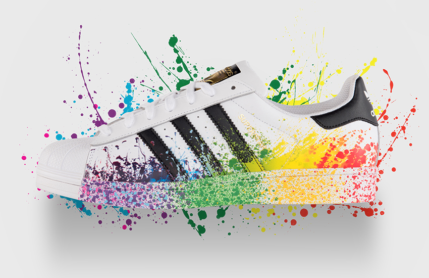 The Adidas Superstar pride-themed sneaker