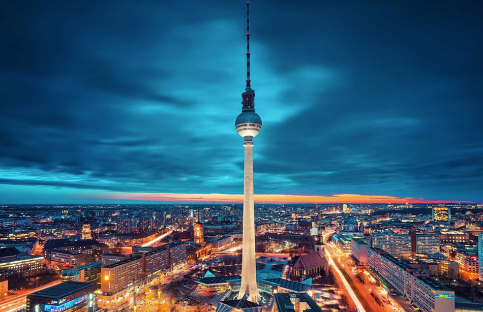 The Fernsehturm television tower is a Berlin icon