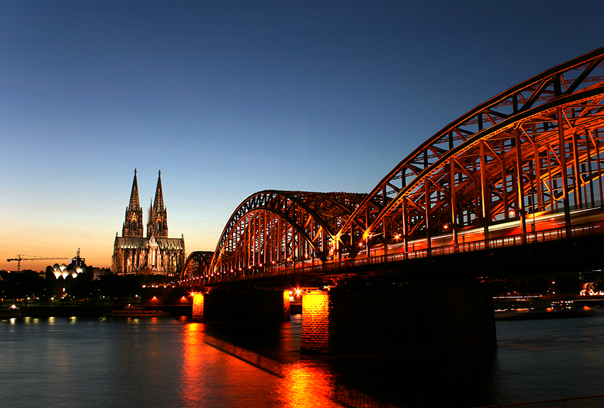 Cologne Cathedral and the Hohenzollern Bridge are iconic parts of the skyline.