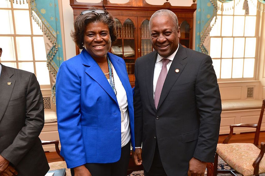 Assistant Secretary of State for African Affairs Linda Thomas-Greenfield with Ghanaian President Dramani Mahama.