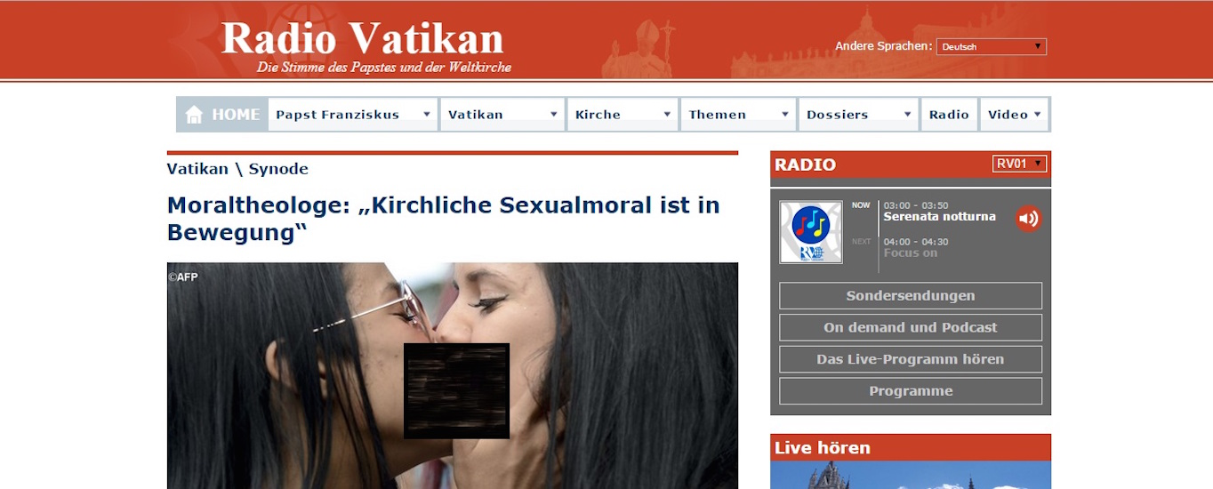 Screenshot of the Radio Vatican article, which was taken and censored by a Catholic extremist website.