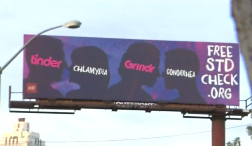 Grindr is taking action after appearing on a AIDS foundation billboard