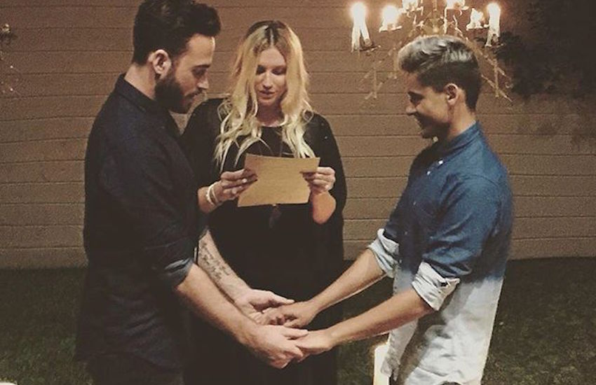 Kesha presiding over the wedding of her hairstylist and his husband.