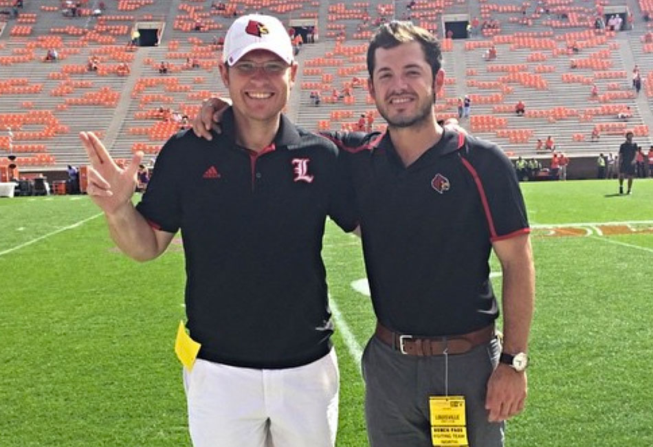 Bobby Petrino Jr. [right] has come out on the cover of a magazine