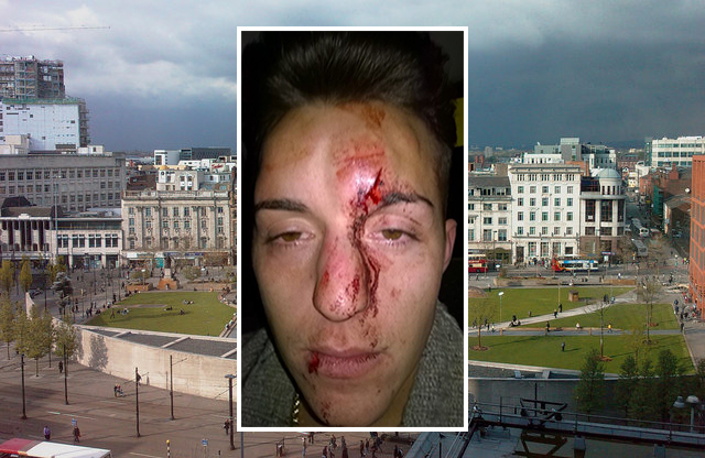 Jean Claude Manseau (inset) was attacked near Piccadilly Gardens, Manchester
