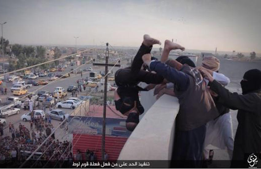 'Gay' man is blindfolded and thrown off a building in Nineveh.