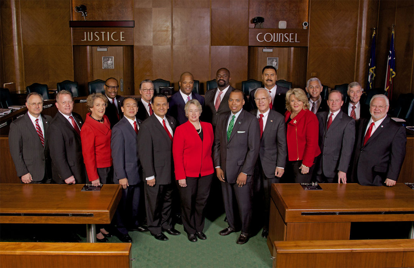 Members of The City of Houston City Council, with Houston's openly gay Mayor, Annise Parker (front, center)