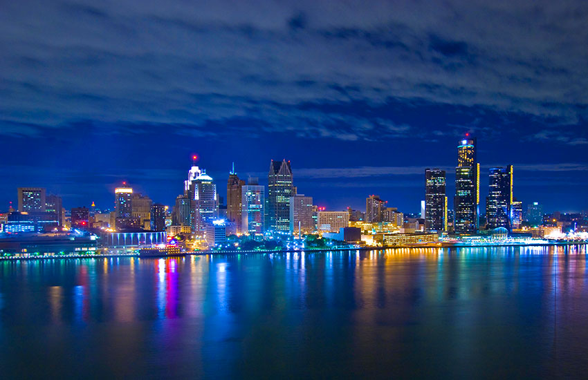 Downtown Detroit, the city's business district, by nightfall