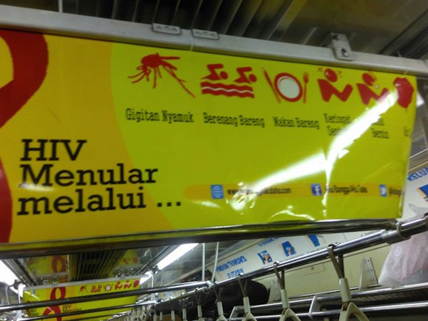 Hundreds of the posters were plastered over trains in Jakarta.