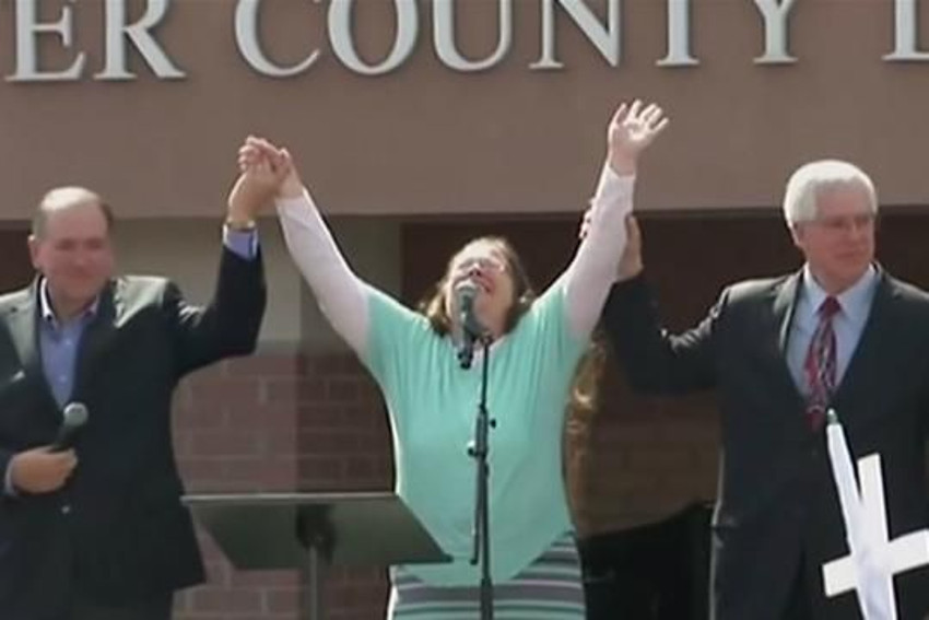 Mike Huckabee was there to welcome Kim Davis when she was released from a Kentucky jail
