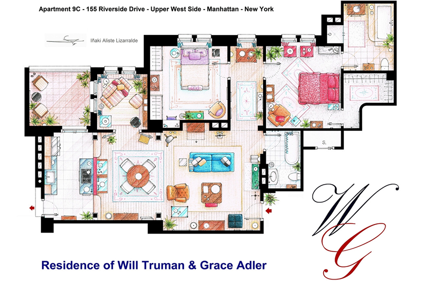 Will & Grace, Friends, the Simpsons: Inaki Aliste Lizzaralde invests hours into detailed floorplans.