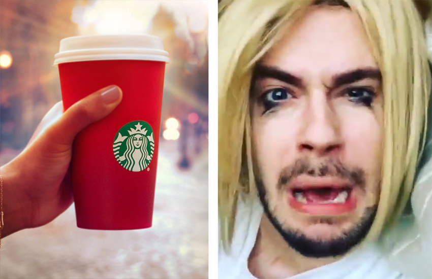A Starbucks red cup (left) and Chris Crocker (right)