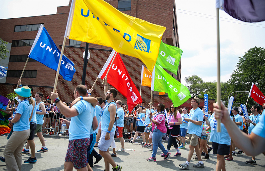 United Airlines staff march at the 2015 Chicago Pride march