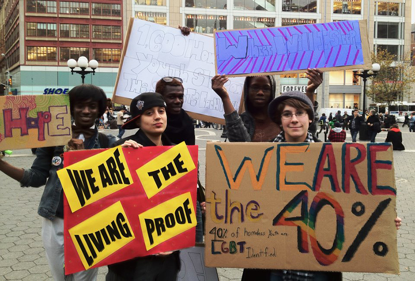 Young people protest LGBTI homelessness with NYC's Ali Forney Center.