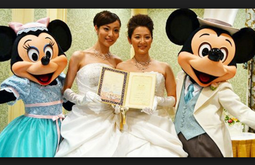 Mickey Mouse became an unlikely champion of same-sex unions in Japan after Tokyo Disneyland gave Koyuki Higashi and her partner Hiroko the go ahead to have their ceremony at the resort in 2013