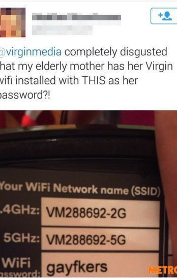 Customer angry 'gayfkers' is grandmother's Wi-Fi password