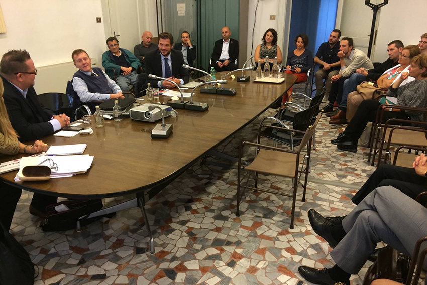 The NGLCC meeting Italian business people in Vicenza Town Hall, northern Italy.