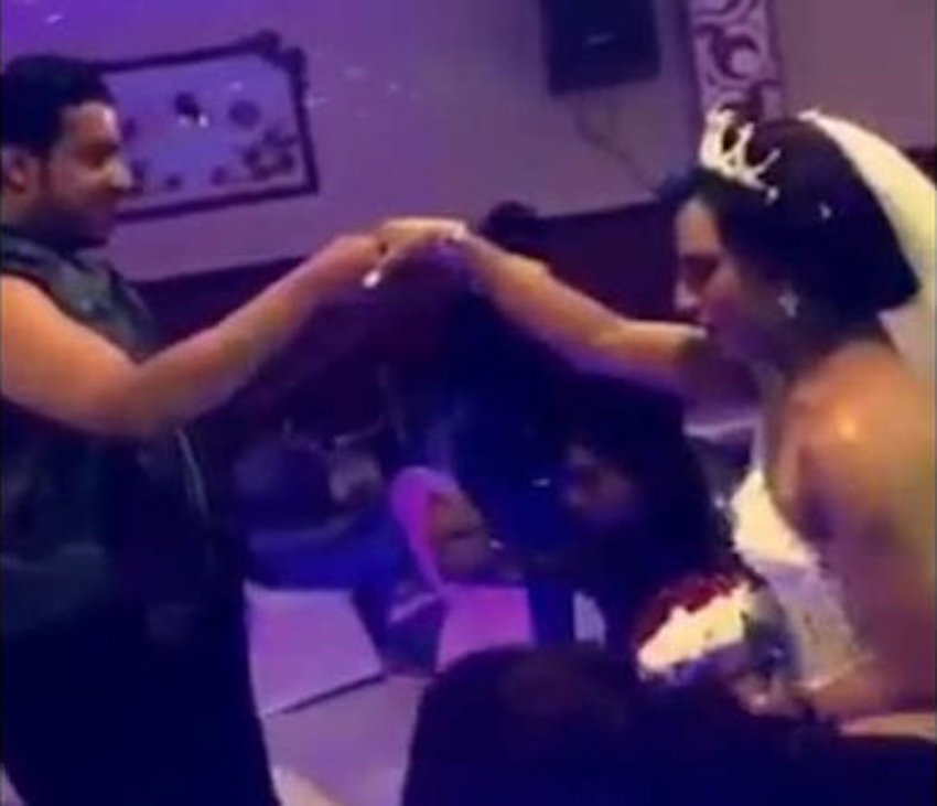 A video of an unofficial gay marriage circulated on social media Monday.