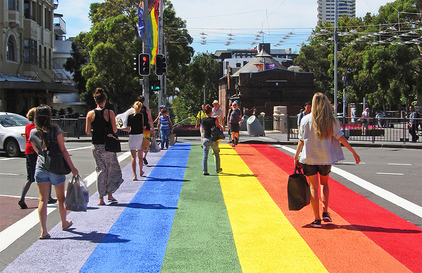 A rainbow crossing in Taylor Square, Sydney, in 2013 – site of the original Mardi Gras peaceful protest for LGBTI rights