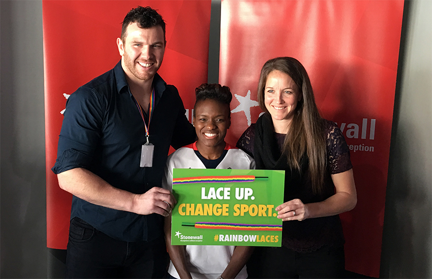 L-R: Keegan Hirst, Nicola Adams and Casey Stoney at yesterday's Team Pride: LGBT in Sports event