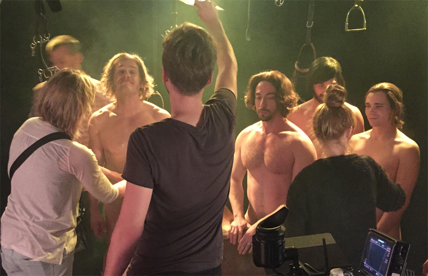 Behind the scenes during the filming of Trouser Bar