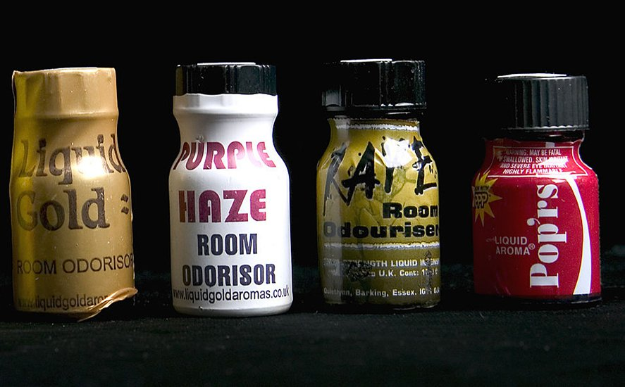 Poppers are commonly sold as 'room aromas'