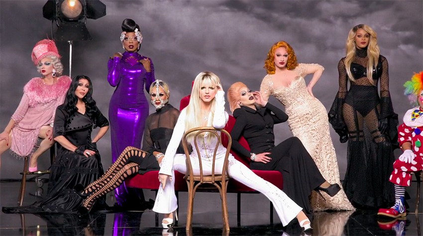 Derrick Barry poses for her life in Drag Race premiere