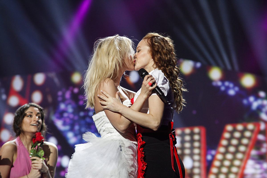 Finland had a same-sex kiss in their Eurovision performance in 2013