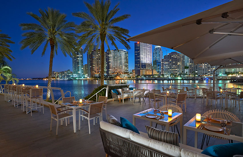 The view of Miami's Biscayne Bay from the terrace of La Mar by Gaston Acurio is picture perfect