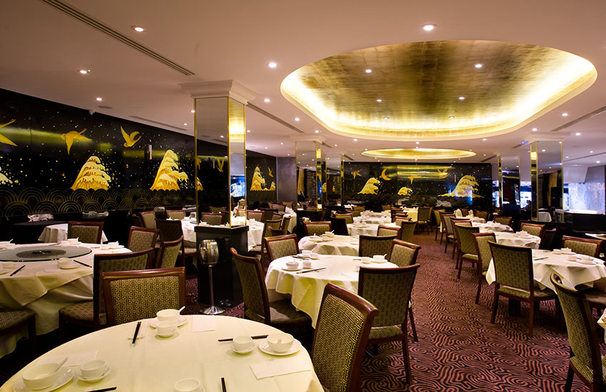 The Royal China Queensway in London boasts wonderfully ornate interiors