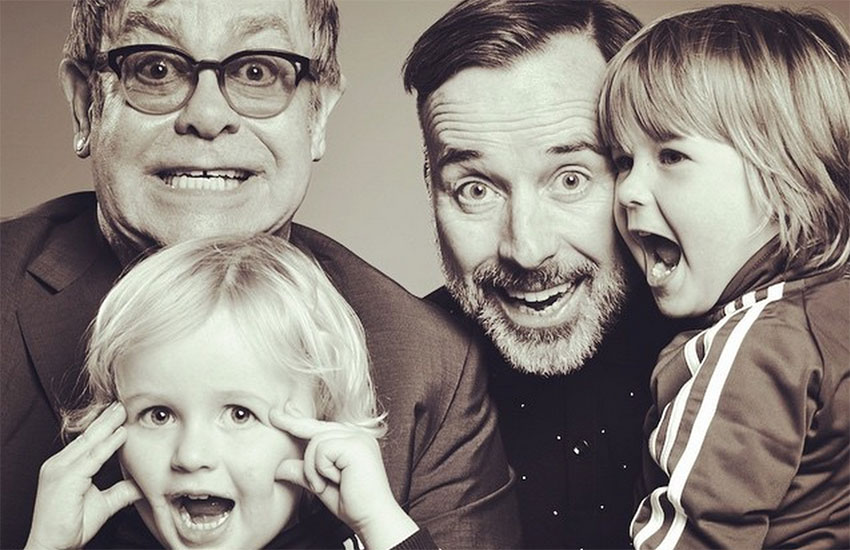 Elton John, pictured with his husband David Furnish and their sons Zachary and Elijah