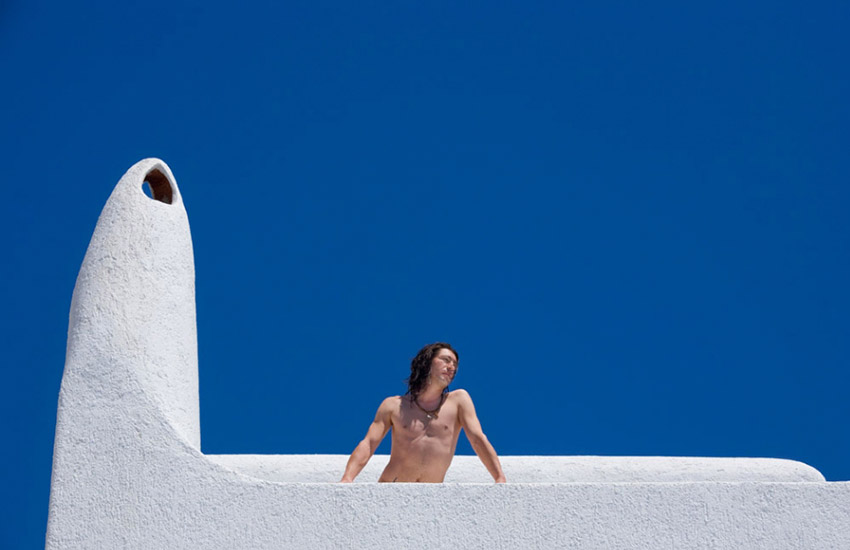 A model at Greco Philia Suites and Villas, the top luxury hotel at Elia Beach in Mykonos