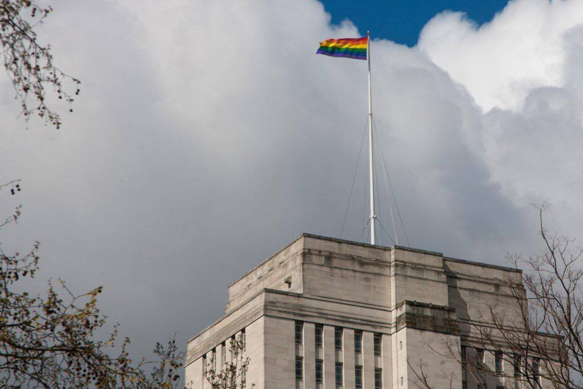 Rainbow flag flies on Senate House, London