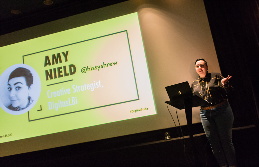 Amy Nield of DigitasLBi addressed the audience at the first Digital Pride event