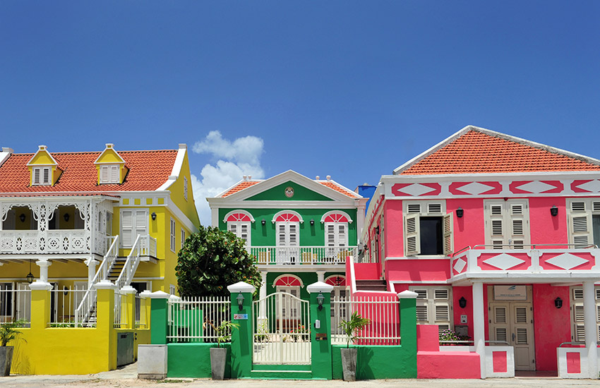 Colored houses in the Pietermaai of Curaçao in the Caribbean