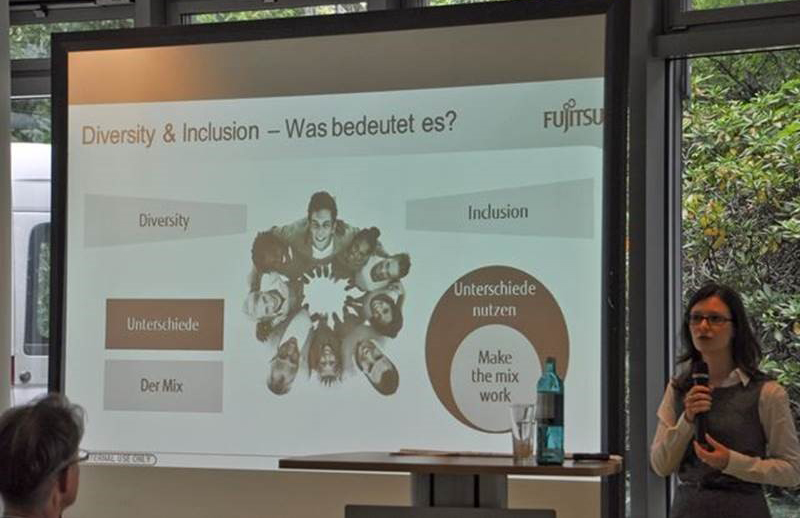 Inga Schener of Fujitsu delivers a talk on diversity and inclusion
