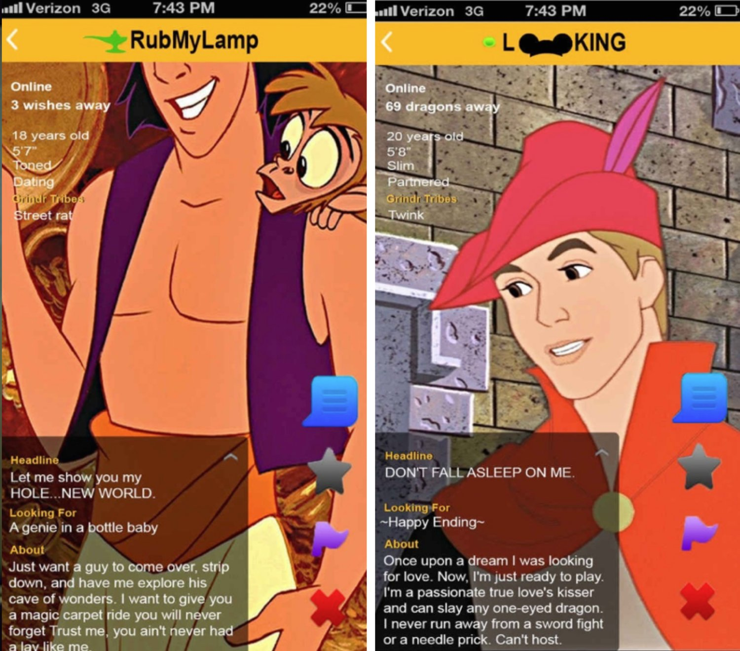 What if Disney princes had Grindr profiles?