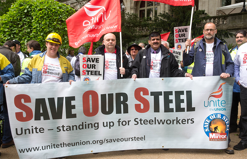 Steel workers and union members at a Save Out Steel demonstration in London this week