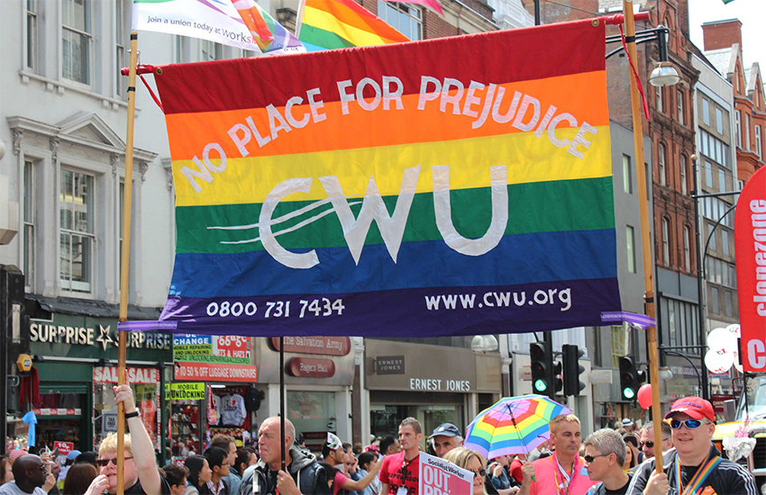 Members of the Communication Workers Union (CWU) march at an LGBT pride festival