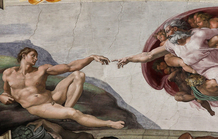 The creation of Adam from the ceiling of the Sistine Chapel by Michelangelo