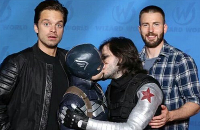 Captain America and Bucky kiss in cute cosplay pic