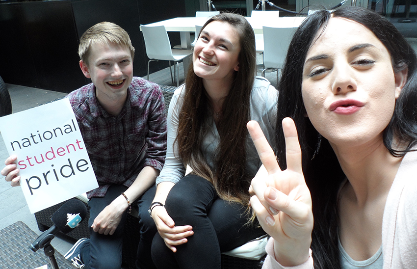 Student Pride's Jamie Wareham and Hatti Smart with Charlie Craggs (right).