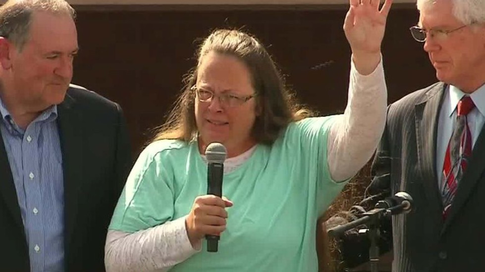 County Clerk Kim Davis was hailed a hro at a rally in Kentucky last fall