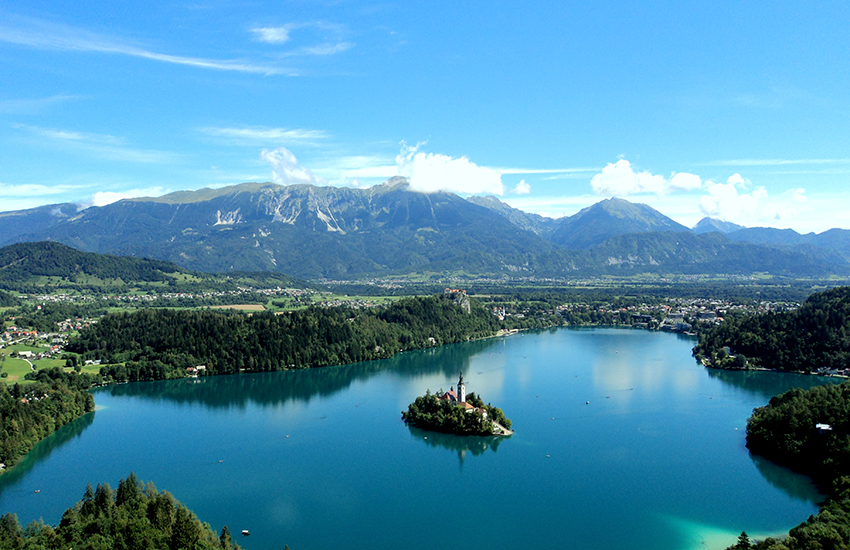 The Pink Week party happens in and around Lake Bled in northwest Slovenia