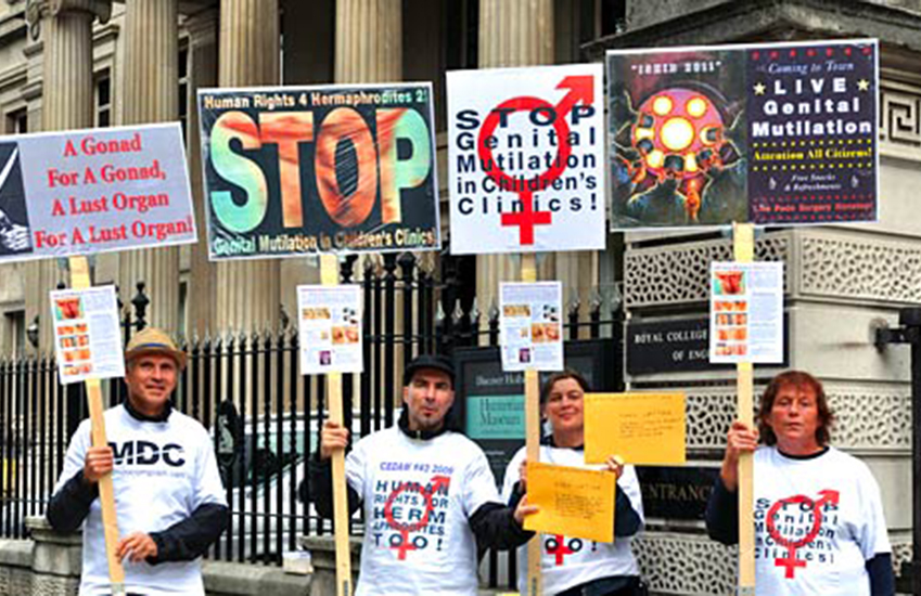 Protest against intersex genital mutilation outside London's Royal College of Surgeons in 2011.
