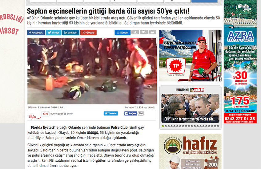 Yeni Akit headline translates as: 'Death toll rises to 50 in bar where perverted homosexuals go!'