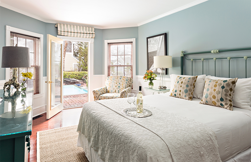 A guest room at the Brass Key