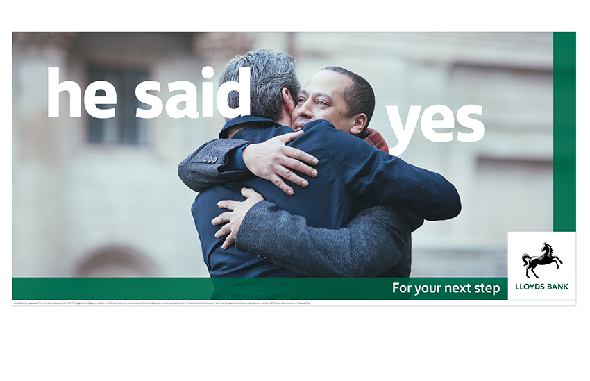 A same-sex couple featured in the latest campaign from Lloyds Banking Group Stonewall