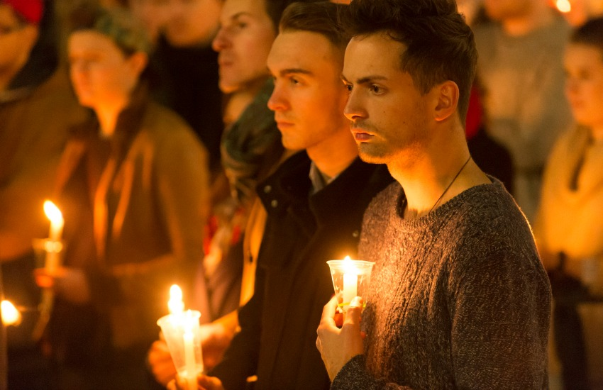 A vigil held for victims of the Orlando shooting.